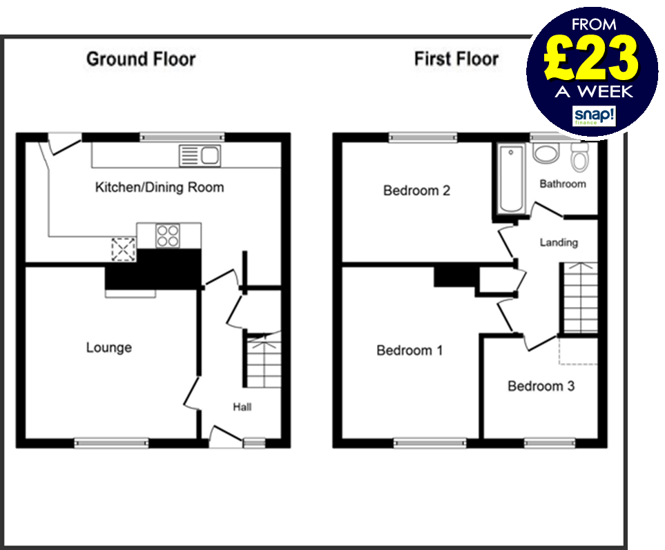 Three bedroom full house deal from Carpets Weekly FROM £23 A WEEK