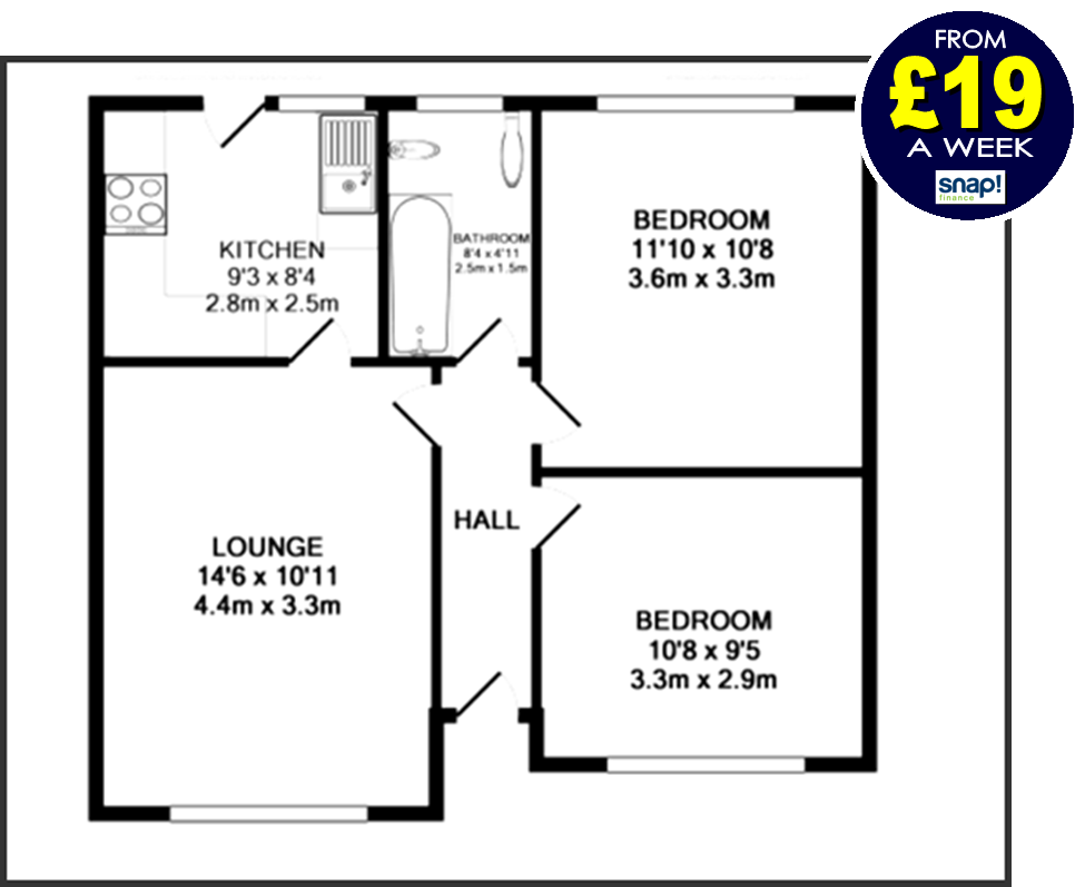 Two bedroom bungalow deal with Carpets Weekly FROM £19 A WEEK