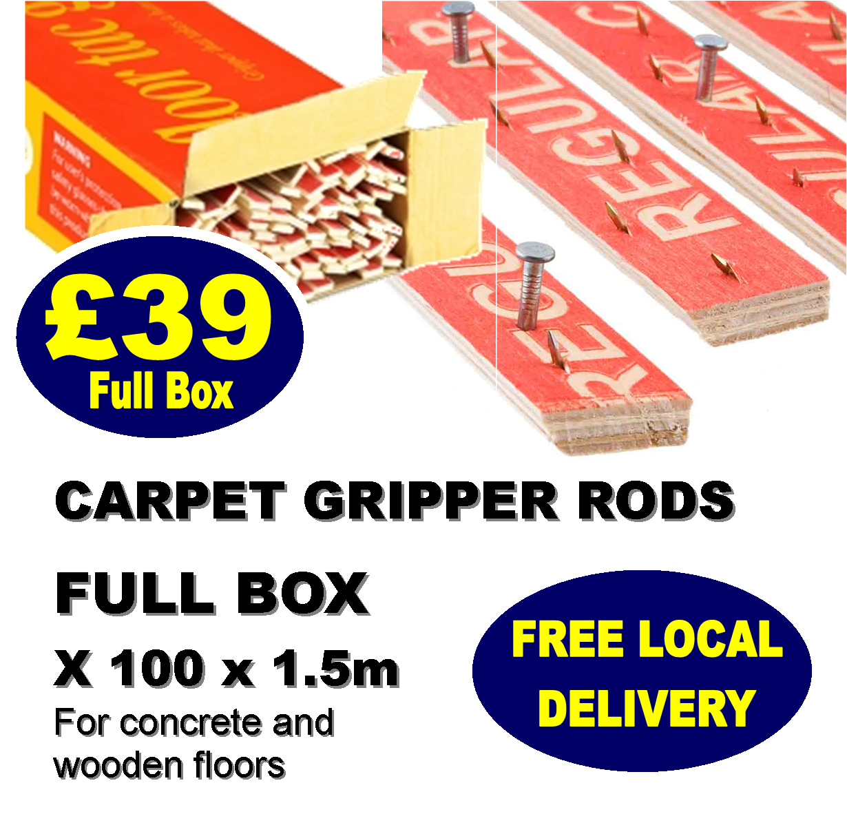 Carpet Gripper Rods. Supply only from Carpets Weekly