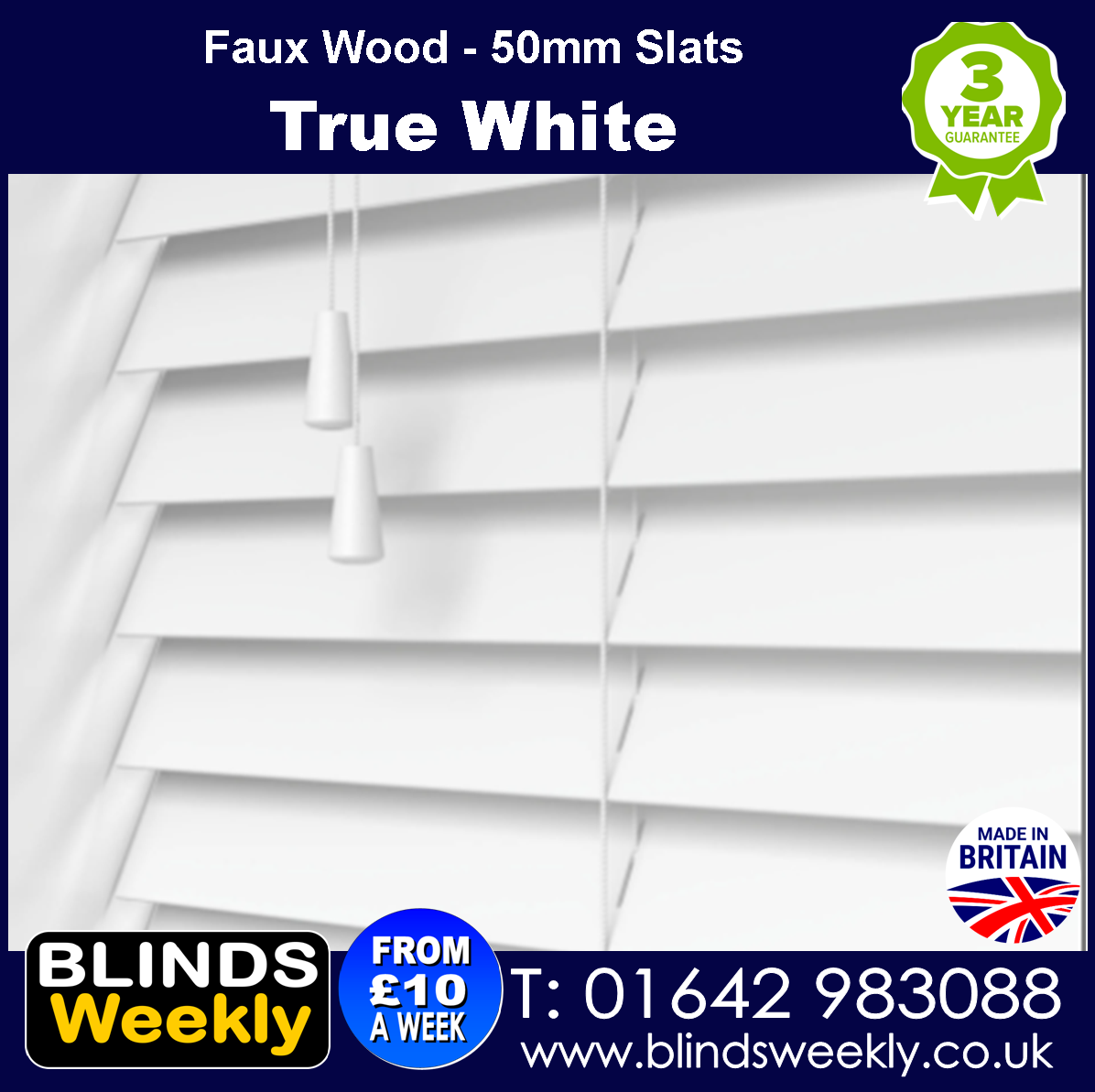 True White 50mm Faux Wood Blinds from Blinds Weekly
