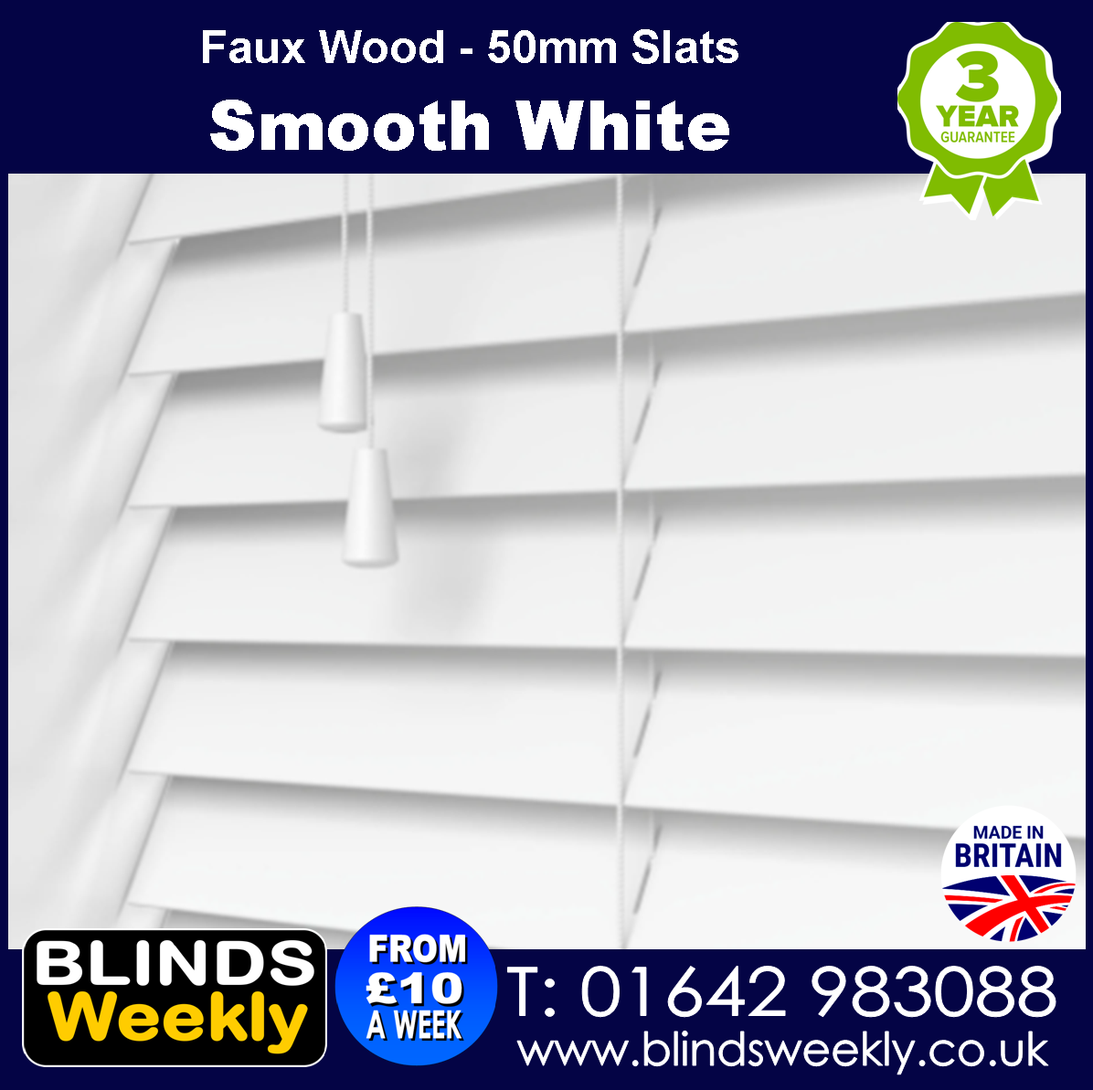 Smooth White Faux Wood Blinds 50mm Slats from Blinds Weekly