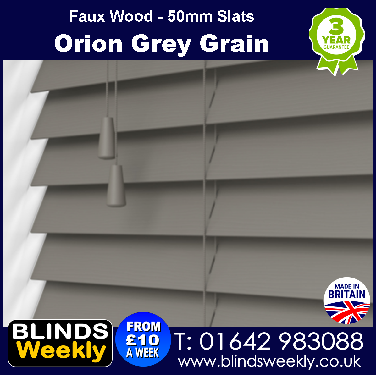Orion Grey Grain Faux Wood Blinds 50mm Slats from Blinds Weekly