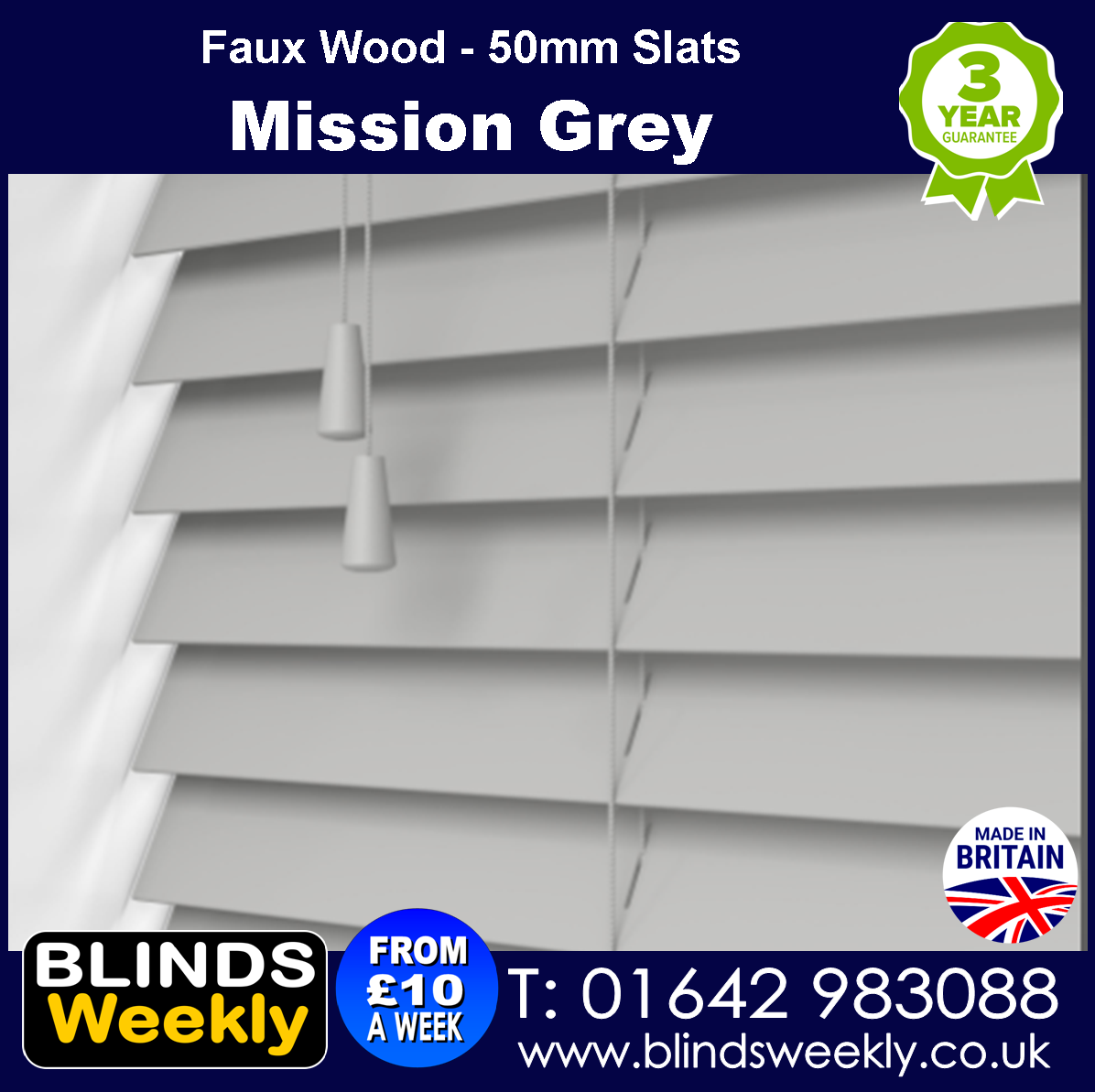 Mission Grey Faux Wood Blinds 50mm Slats from Blinds Weekly
