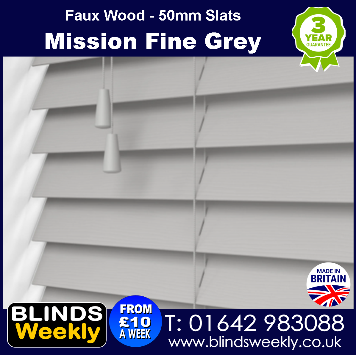 Mission Fine Grain Faux Wood Blinds 50mm Slats from Blinds Weekly