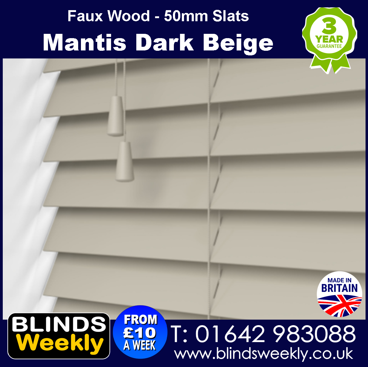 Mantis Dark Beige 50mm Slats Faux Wood Blinds from Blinds Weekly