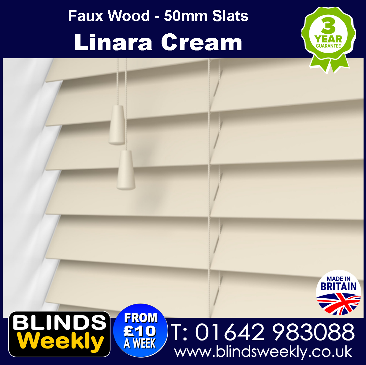 Linara Cream 50mm Faux Wood Blinds from Blinds Weekly