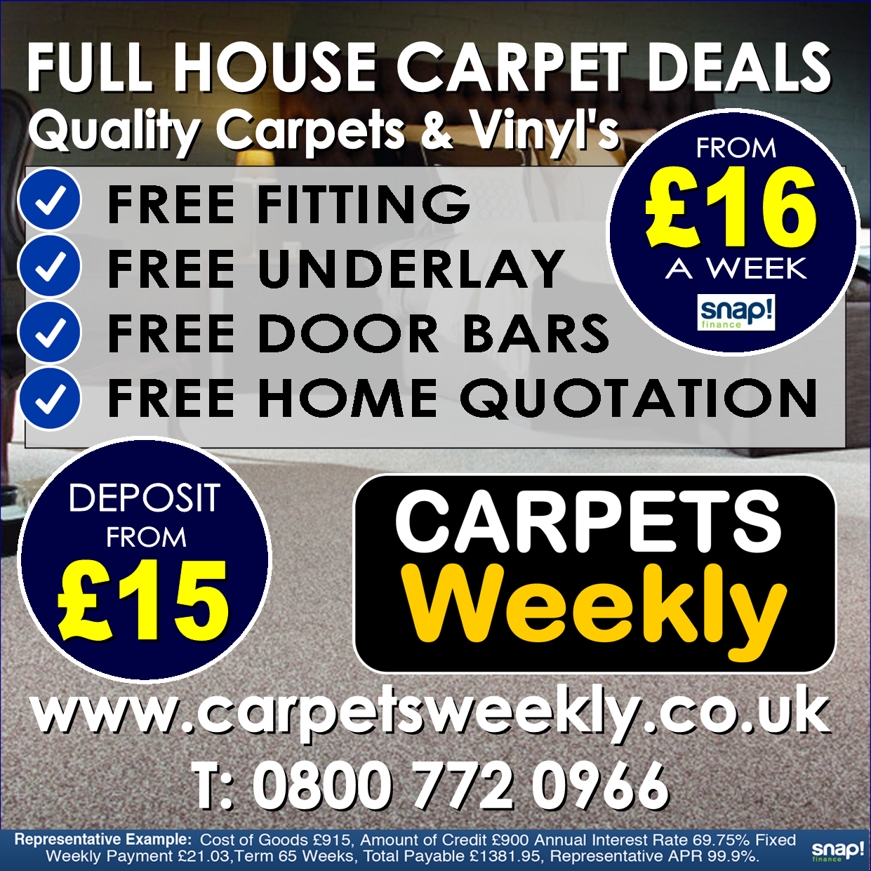 Full House Carpet Deals from Carpets Weekly www.carpetsweekly.co.uk Tel 08007720966