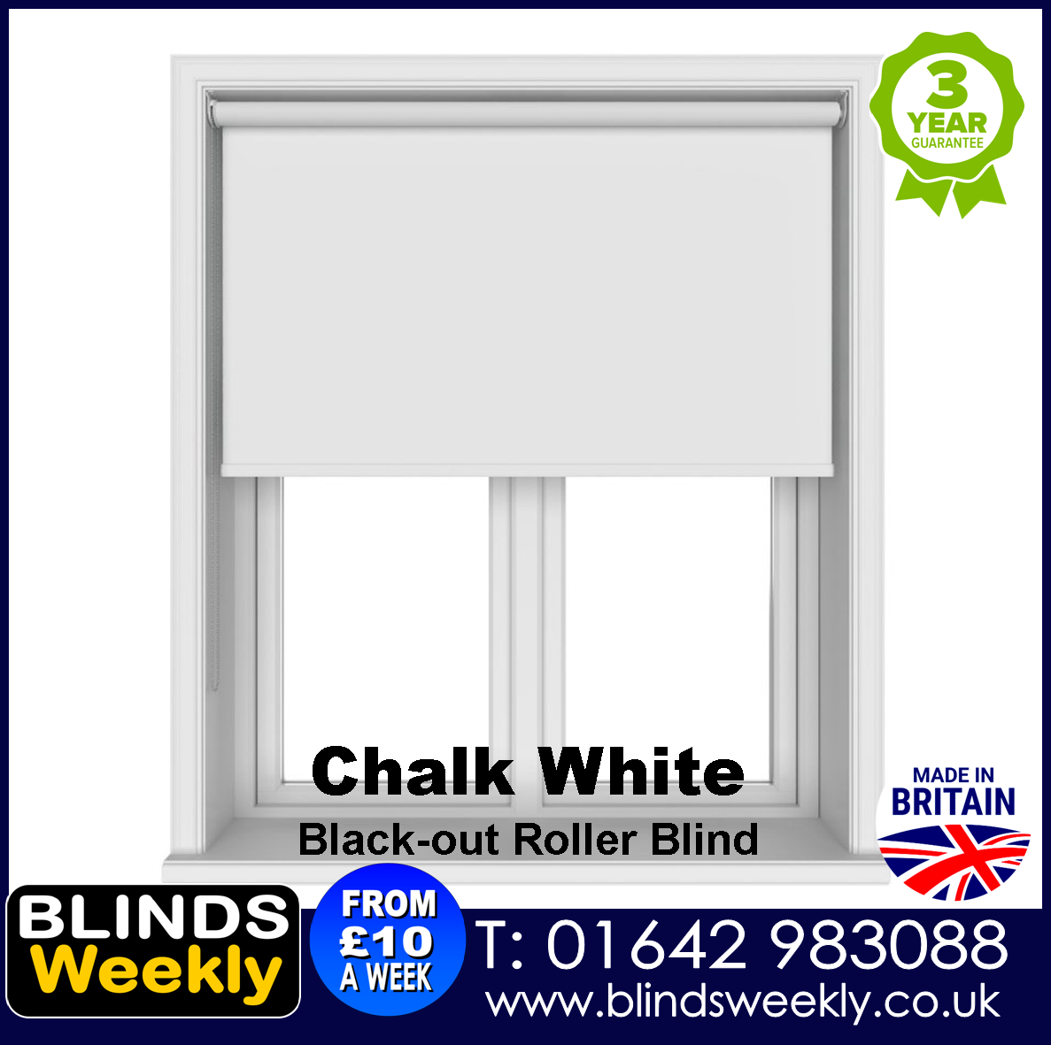 Blinds Weekly Blackout Roller Blind - CHALK WHITE