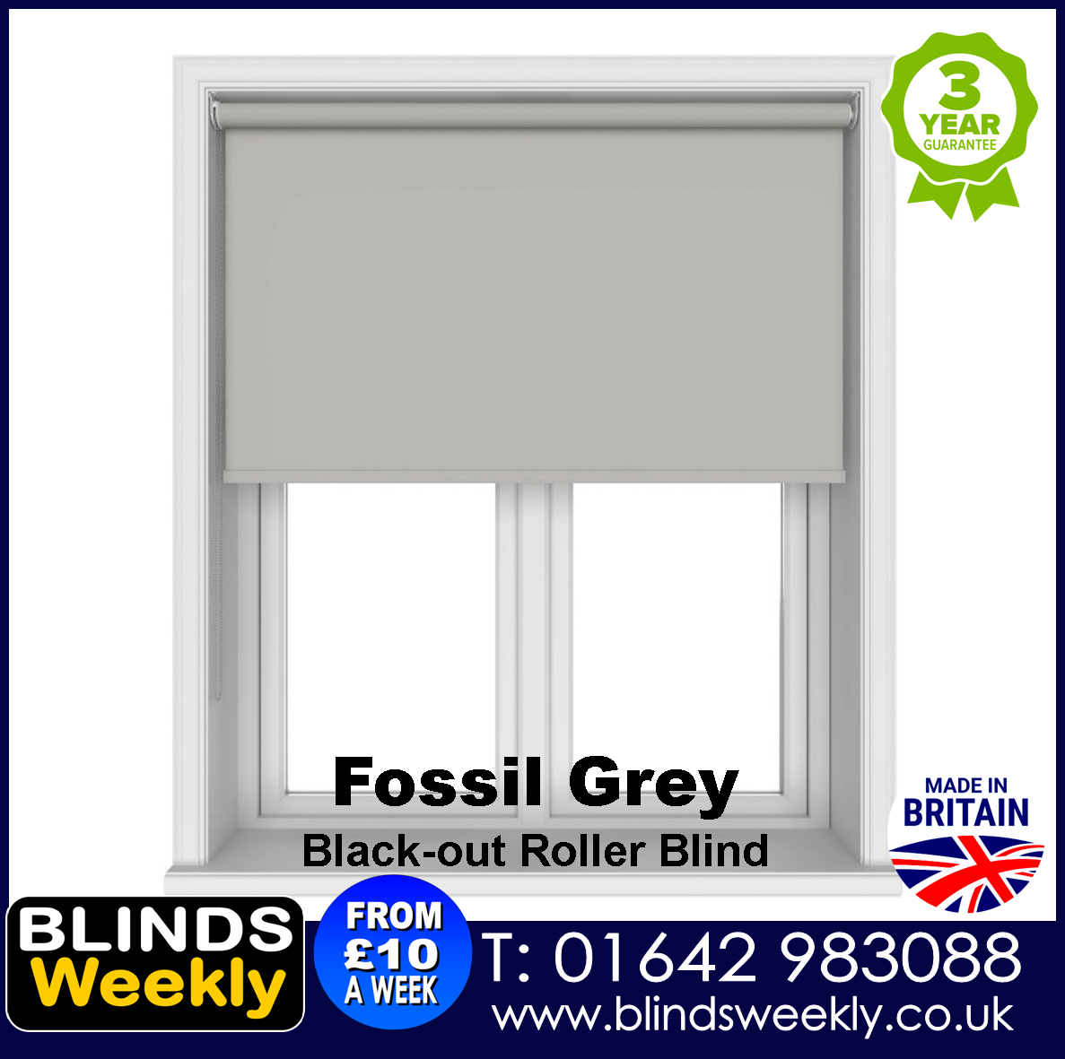 Blinds Weekly Blackout Roller Blind - FOSSIL GREY