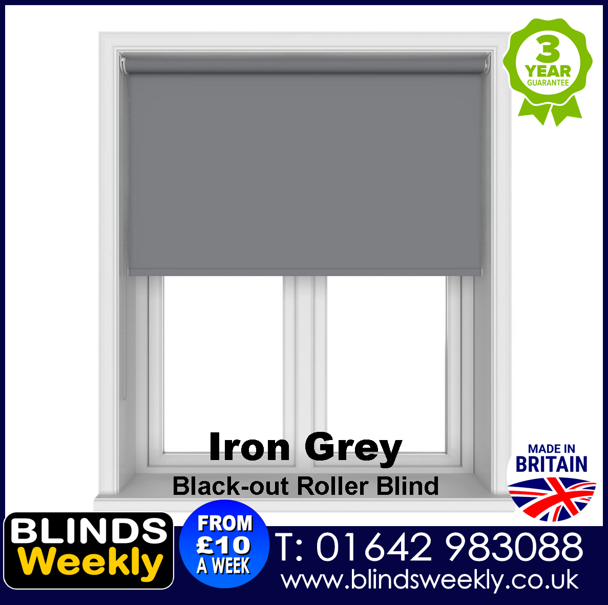 Blinds Weekly Blackout Roller Blind - IRON GREY