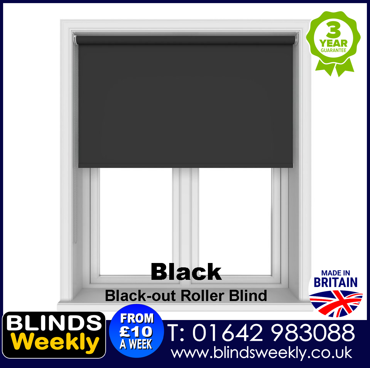 Blinds Weekly Blackout Roller Blind - BLACK