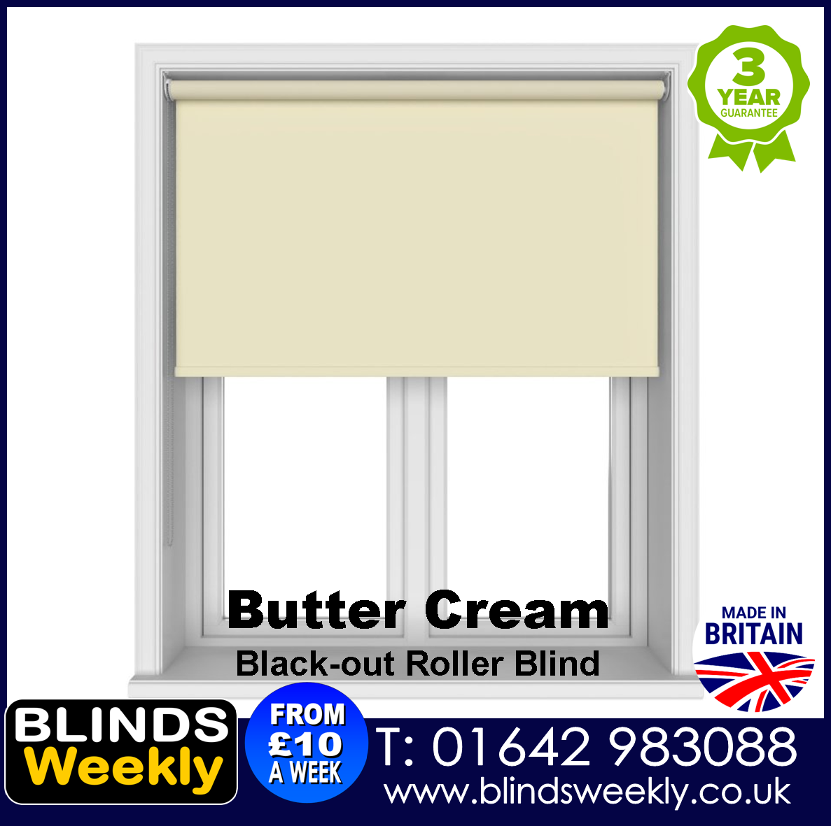 Blinds Weekly Blackout Roller Blind - BUTTER CREAM