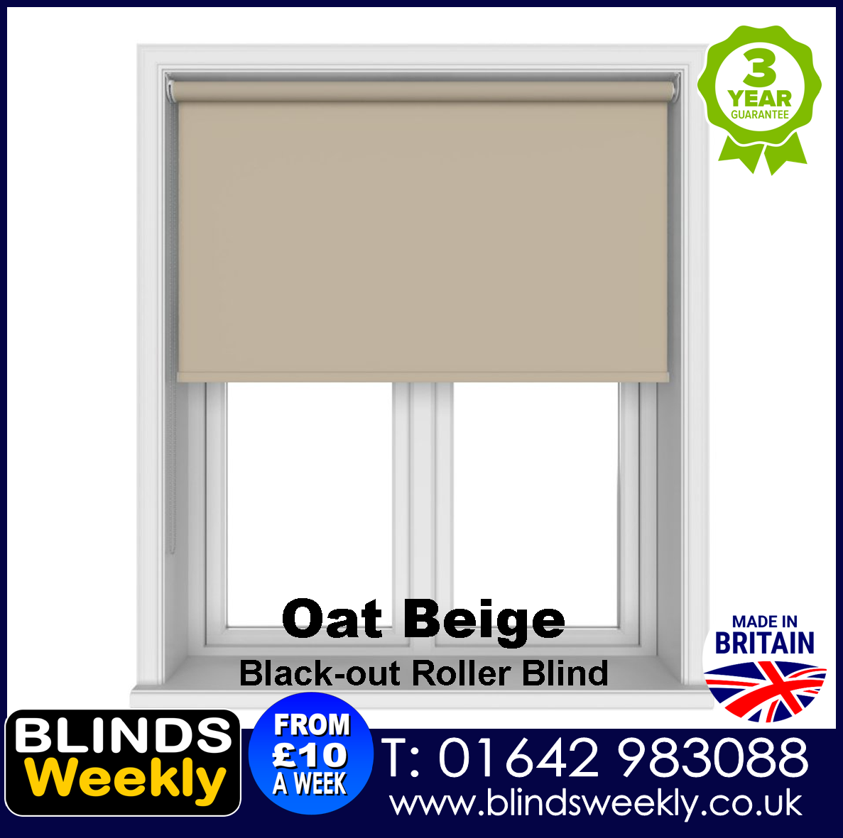 Blinds Weekly Blackout Roller Blind - OAT BEIGE