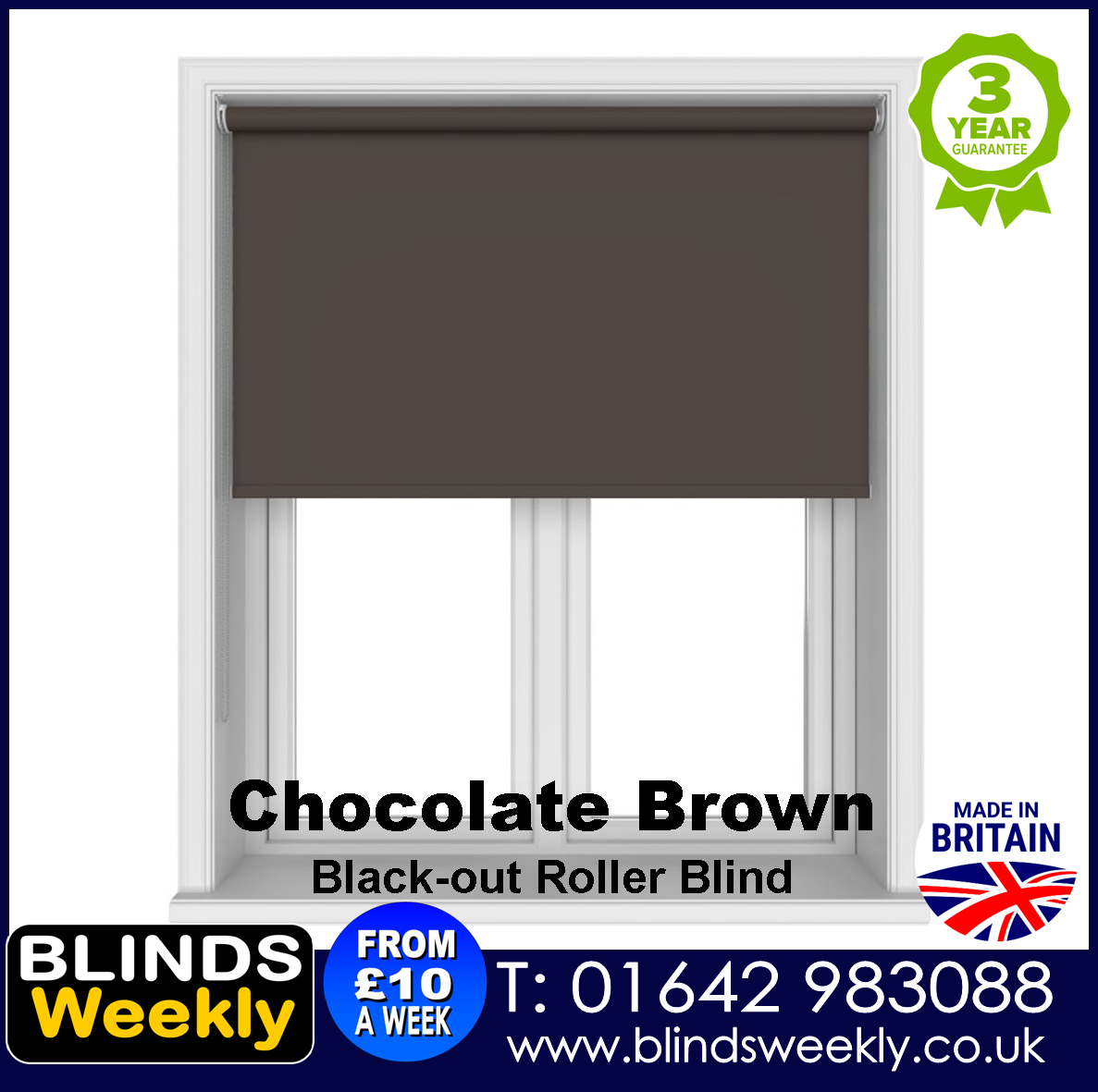Blinds Weekly Blackout Roller Blind - CHOCOLATE BROWN