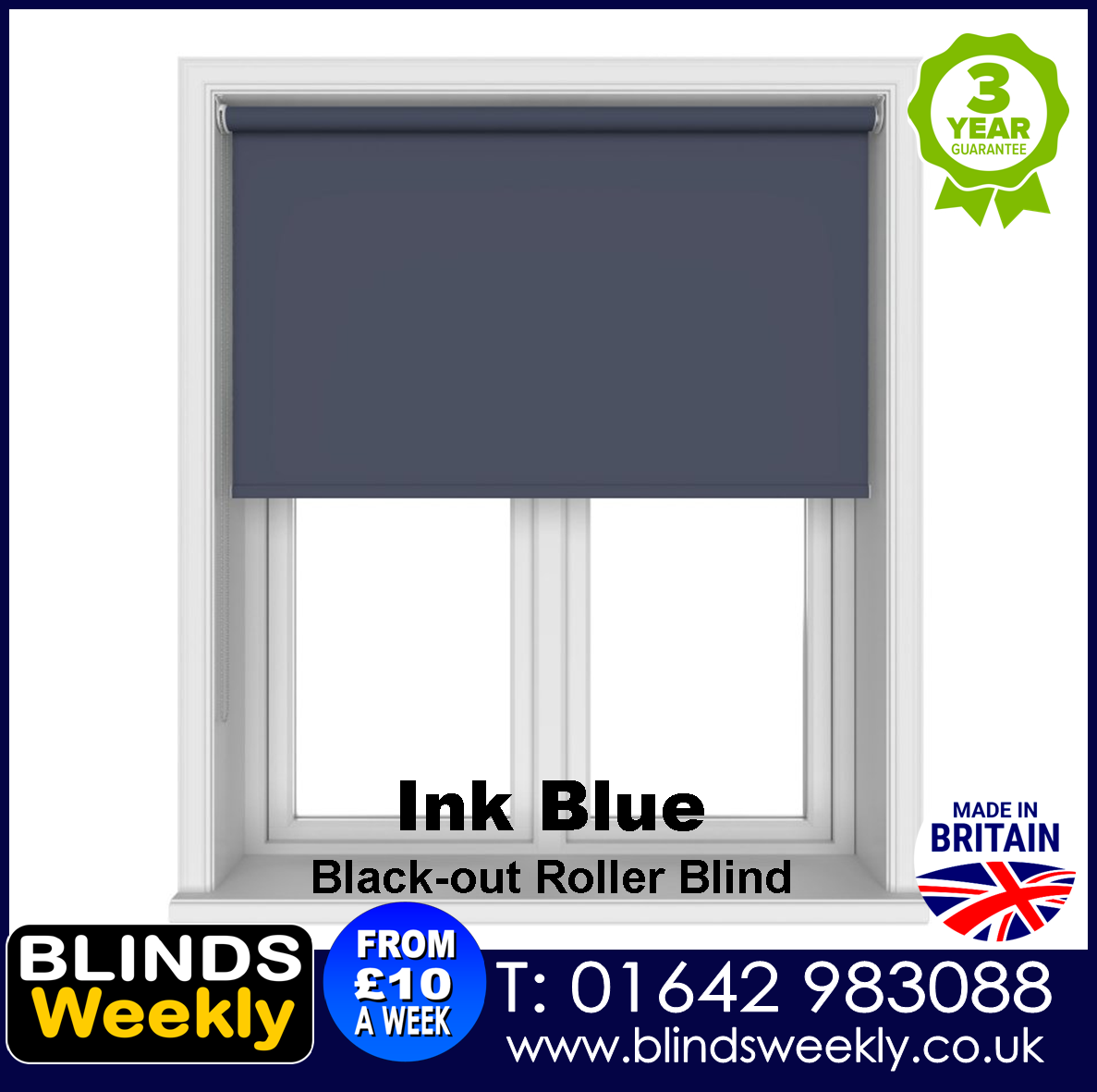 Blinds Weekly Blackout Roller Blind - INK BLUE