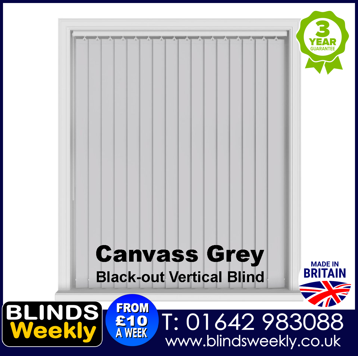 Blinds Weekly Blackout Vertical Blind - Canvass Grey