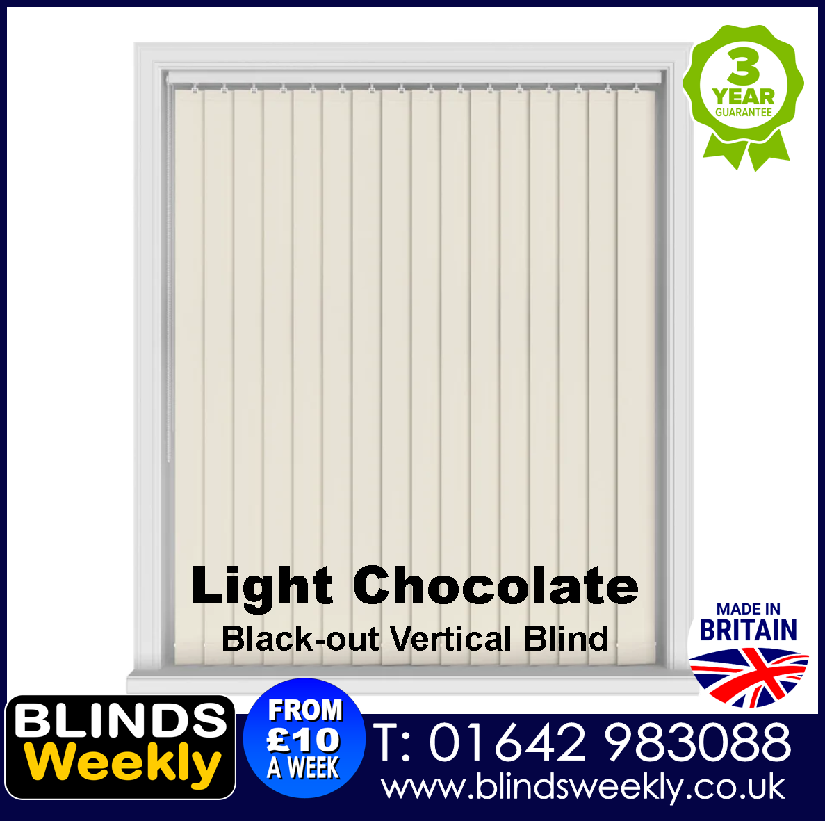 Blinds Weekly Blackout Vertical Blind - Light Chocolate