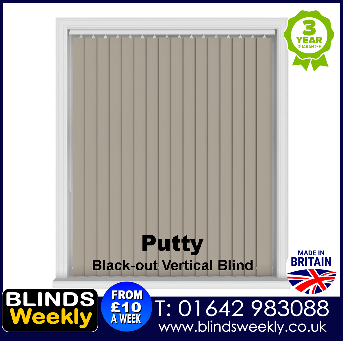 Blinds Weekly Blackout Vertical Blind - Putty