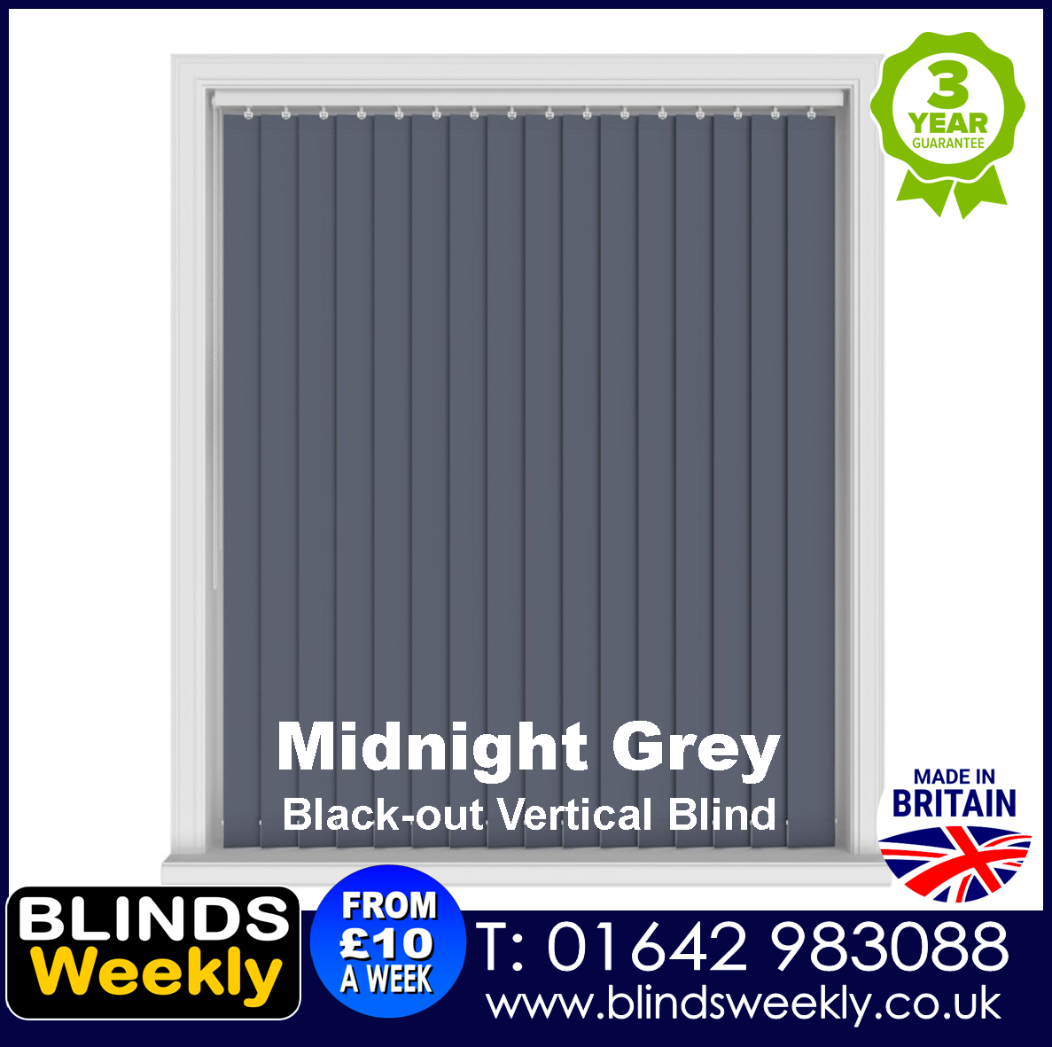 Blinds Weekly Blackout Vertical Blind - Midnight Grey