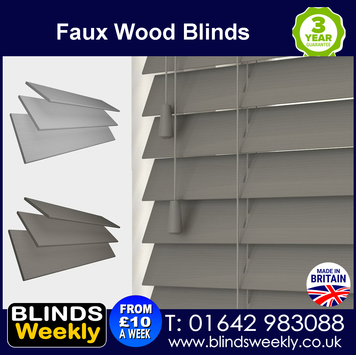 FAUX WOOD BLINDS FROM BLINDS WEEKLY 01642983088