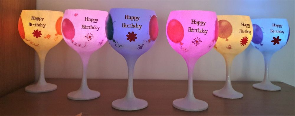 HAND DECORATED HAPPY BIRTHDAY GIN GLASS WITH FLASHING T LIGHT