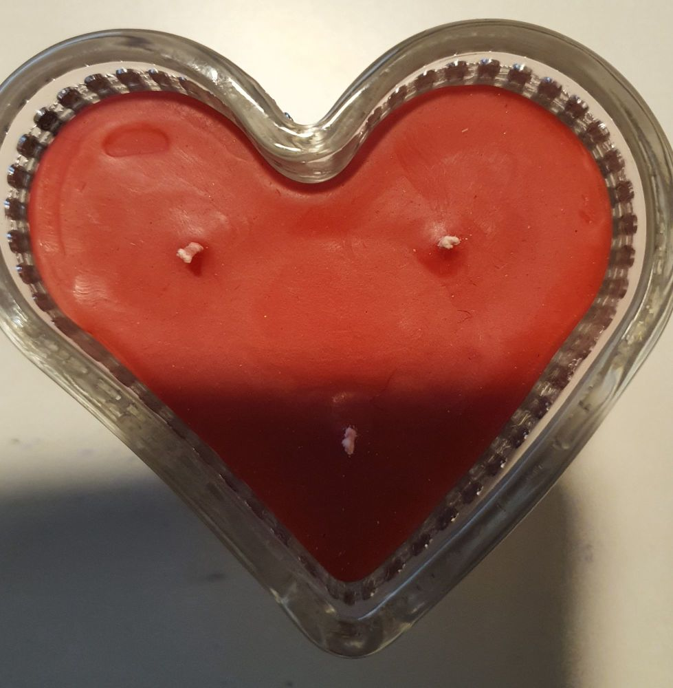 RED HEART SHAPE CANDLE IN A GLASS