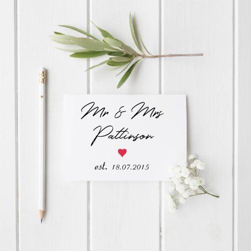 Est. On Anniversary or Wedding Card