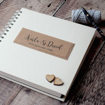 Rustic Wedding Guest Book with Wooden Hearts