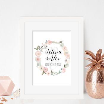 Pastel Rose Framed Wedding Print