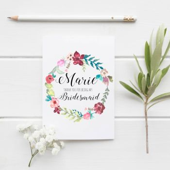 Botanical Garden Bridesmaid Thank You Card