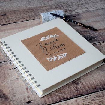 Hand-Illustrated Laurel Leaf Wedding Guest Book
