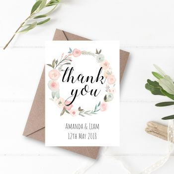Pastel Rose Thank You Cards - Set of 10