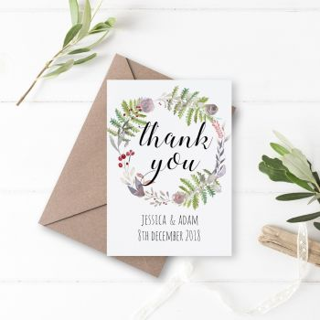 Winter Wreath Thank You Cards - Set of 10