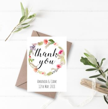 Spring Flowers Thank You Cards - Set of 10