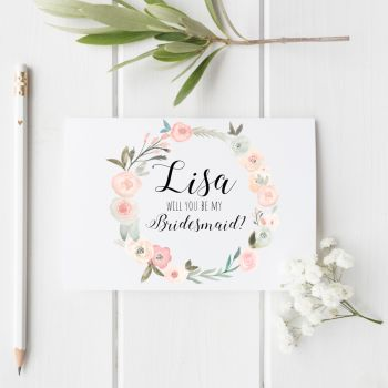Pastel Rose 'Will You be my Bridesmaid?' Card