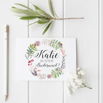 Winter Wreath 'Will You be my Bridesmaid?' Card
