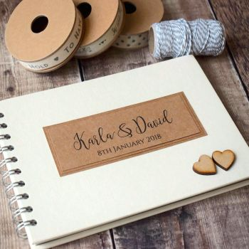 Rustic Wedding Guest Book with Wooden Hearts - A5 or A4