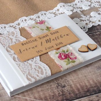 Vintage Rose Hessian & Lace Wedding Guest Book