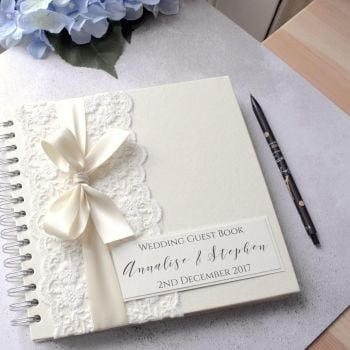 Vintage Lace & Bow Wedding Guest Book