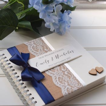 Hessian Lace & Bow Wedding Guest Book - Wooden Hearts