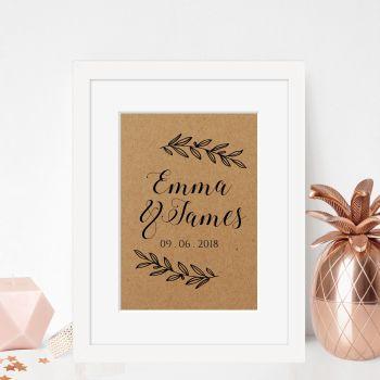 Laurel Leaf Framed Wedding Print
