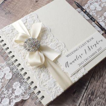 Vintage Lace & Rhinestone Wedding Guest Book