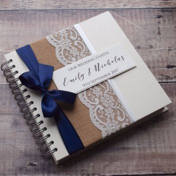 Hessian Lace & Bow Wedding Guest Book