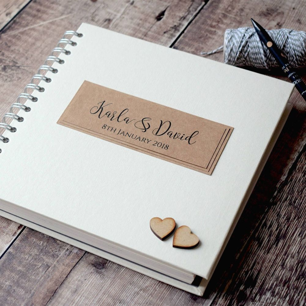 Rustic Wooden Hearts Wedding Guest Book