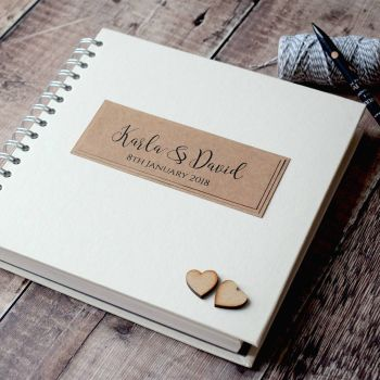 Rustic Wooden Hearts Personalised Wedding Guest Book