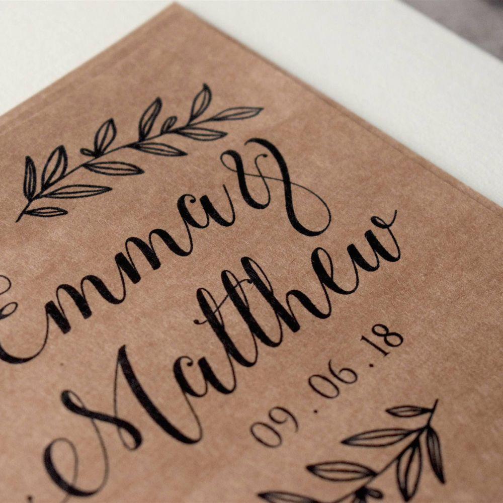 Laurel Leaf Print Wedding Guest Book