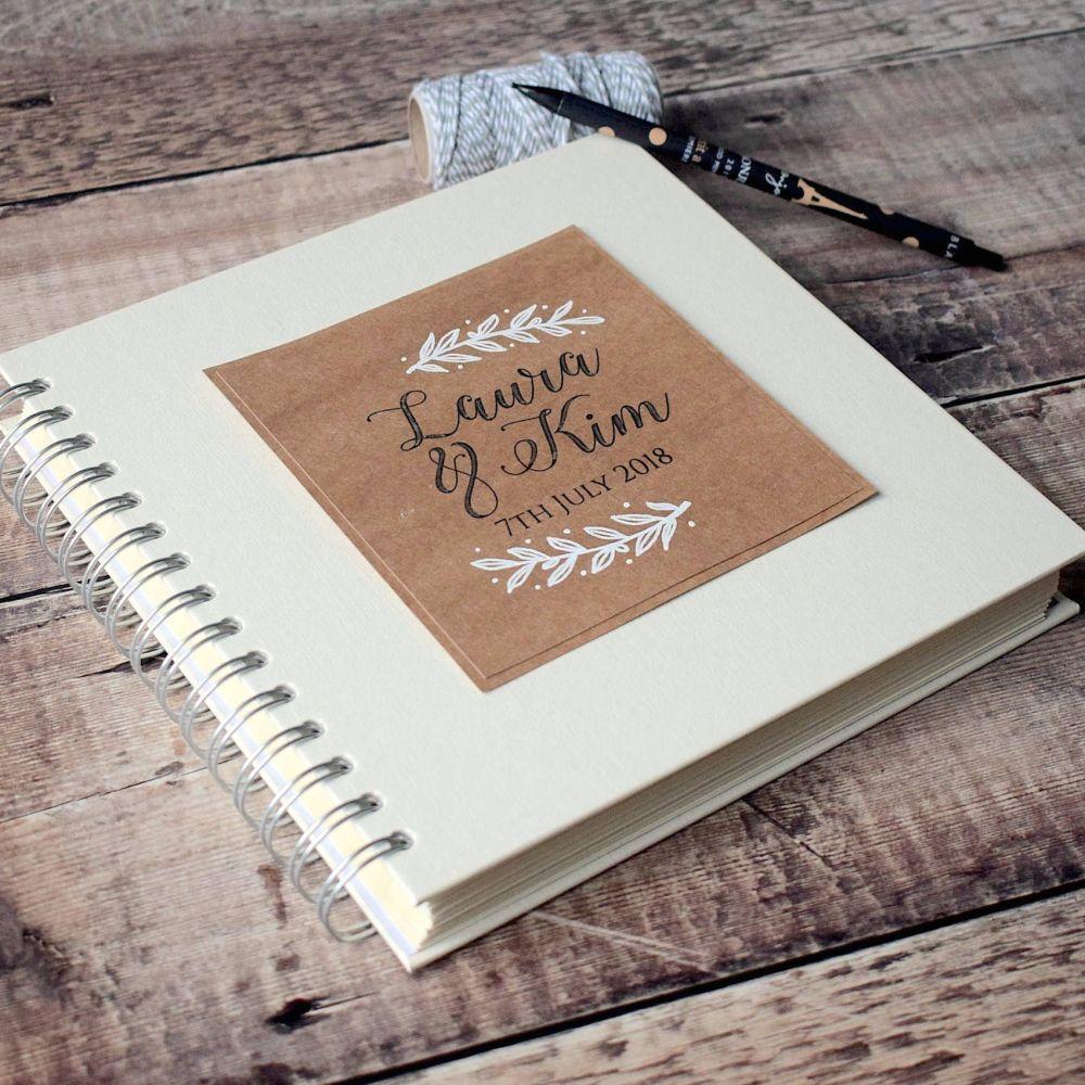 Laurel Leaf Wedding Guest Book - Hand Illustrated