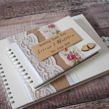 Rosa Hessian & Lace Personalised Wedding Guest Book