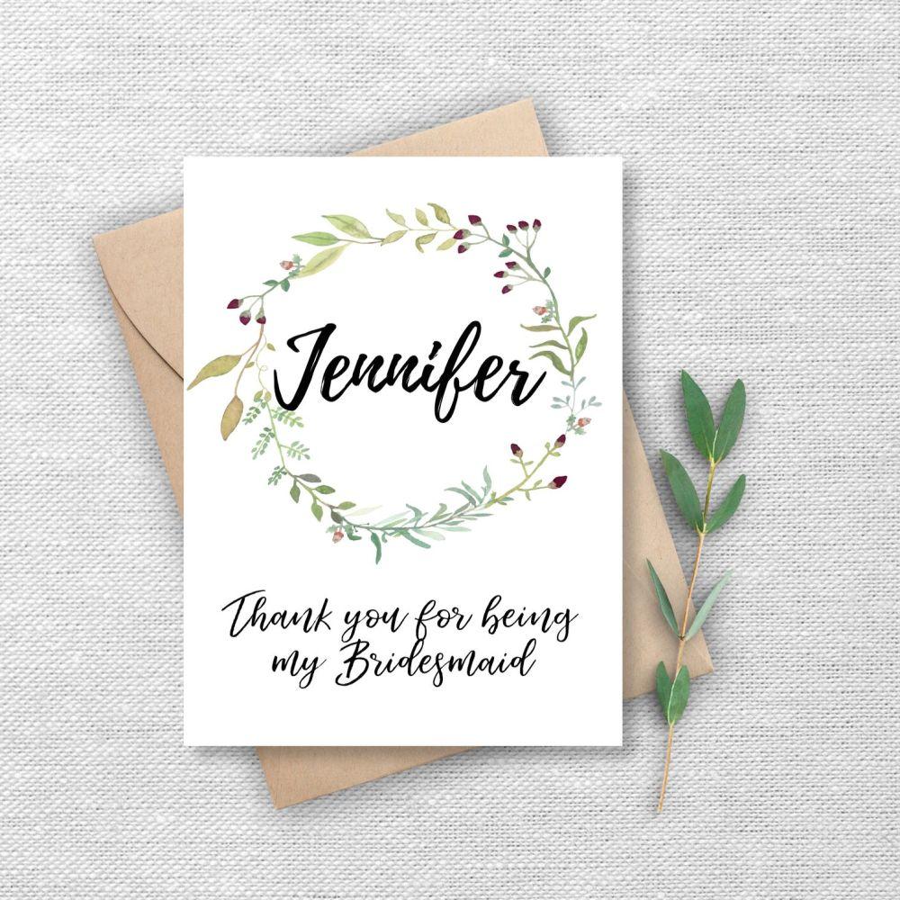 Watercolour Greenery Bridesmaid Thank You Card