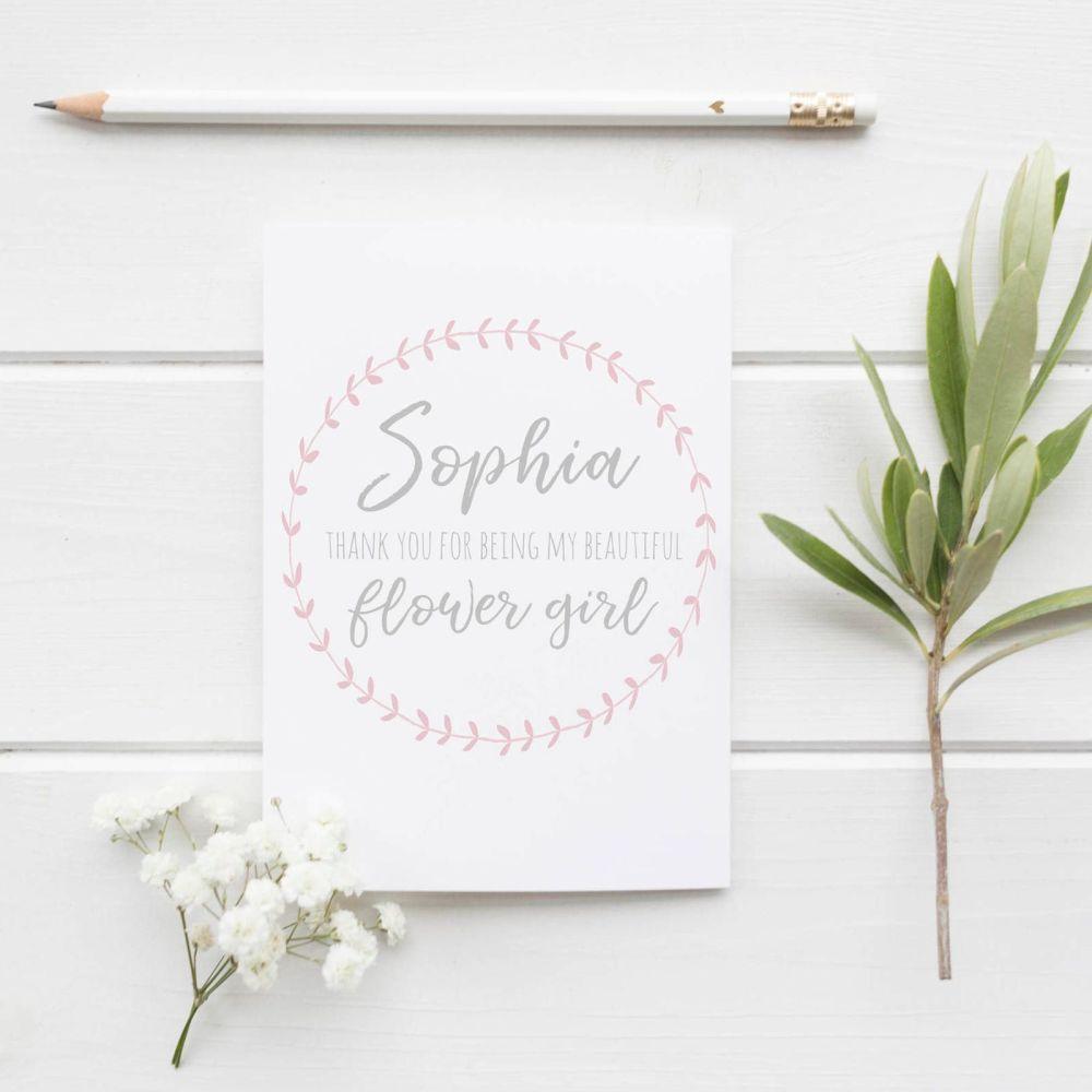 Pink Laurel Bridesmaid Thank You Card